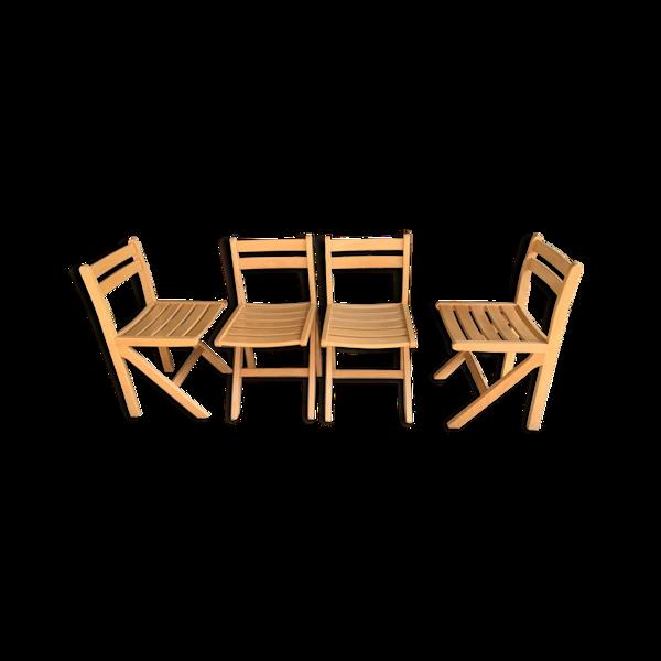 Lot de 4 chaises en hêtre