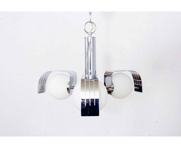 Lustre spoutnik à 3 opalines et métal chromé années 70