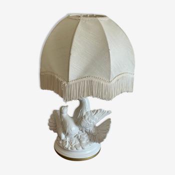 Lampe aux deux colombes céramique blanche