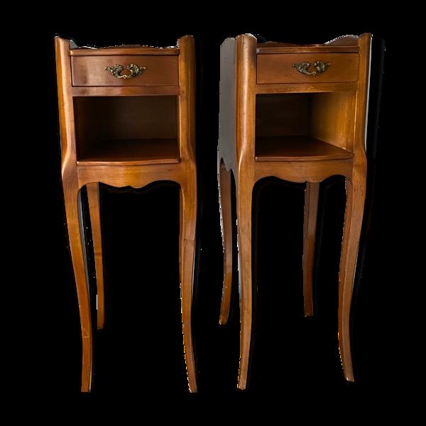 Selency Paire de chevets en merisier Style LouisXV