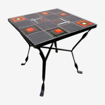 Table en céramique décor abstrait moderniste 1950