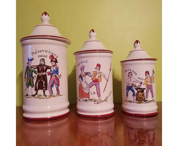 """Trio de pots d'apothicaire """"Lierté, Egalité, Fraternité"""""""