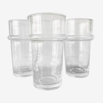 3 blown glass glasses