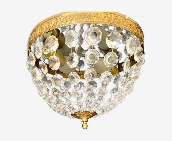Plafonnier bronze et cristal