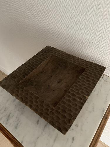 Cendrier carré vintage bois sculpté