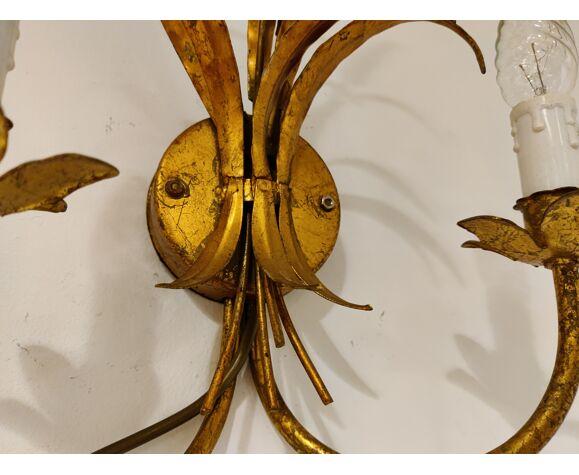 Gerbe vintage en métal doré de lampes murales de blé, années 1960