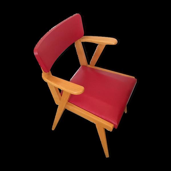 Fauteuil bridge rouge pieds compas années 60