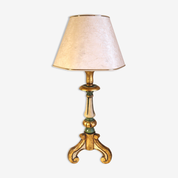 Lampe italienne bois polychrome