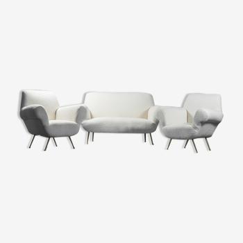 Ensemble canapé 2 fauteuils bouclé blanc années 50 vintage modernié