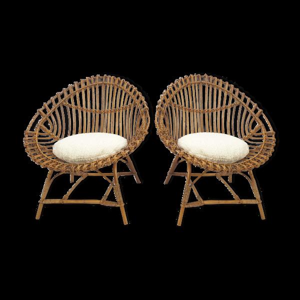 Selency Paire de fauteuils italiens en rotin du milieu du siècle, années 1960