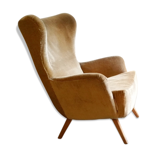 Fauteuil a oreilles wing chair beige dans son jus années 50/60