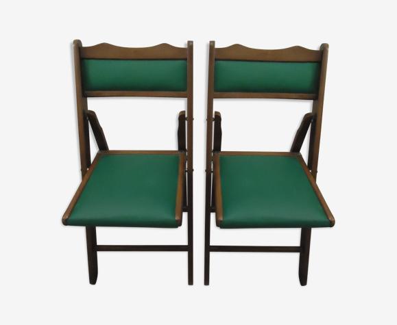 Paire chaises pliantes en bois & skaï -
