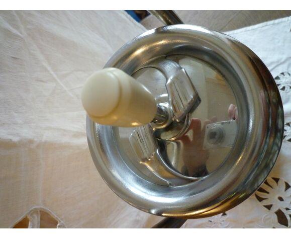 Cendrier inox sur pied culbuto design années 50 - 60