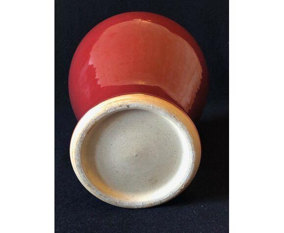 Vase grès émaillé rouge sang de boeuf XIXème XXème China