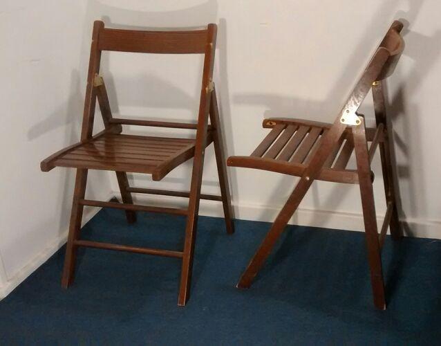 Paire de chaises pliantes vintages