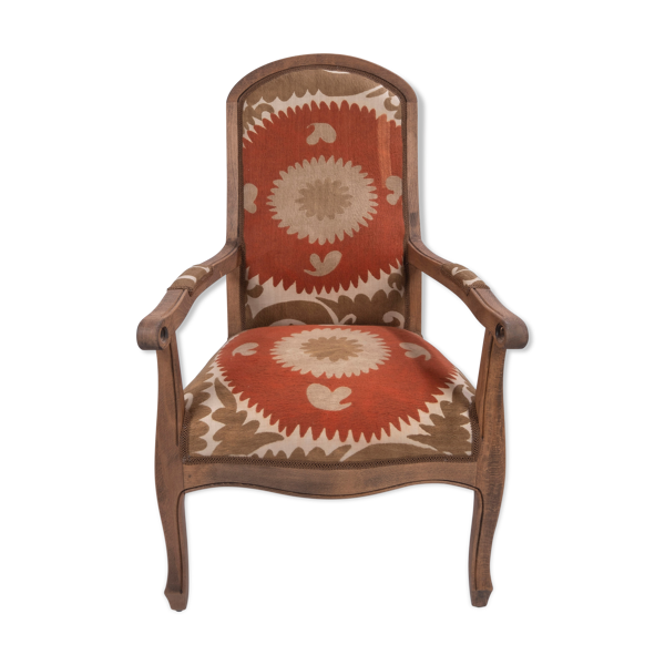 Selency Boho Chic Suzani Embroidered Bergere Chair