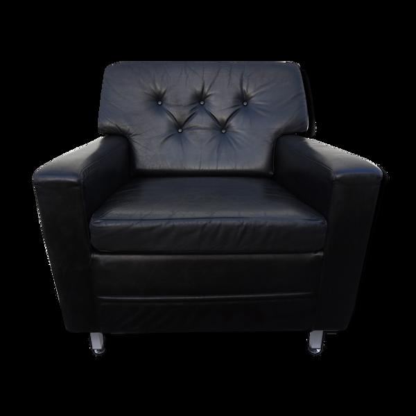 Fauteuil club en cuir noir vintage par Profilia