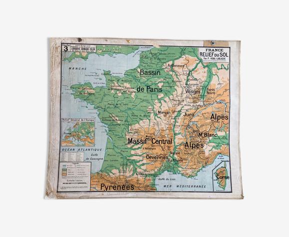 Carte scolaire Vidal Lablache La France  carte n3
