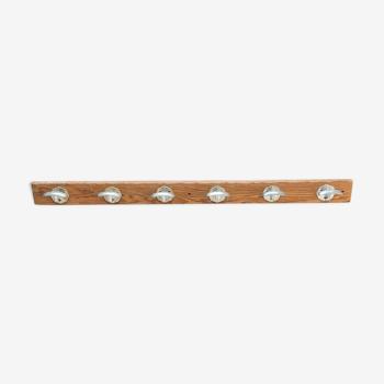 Wooden patère 6 hooks