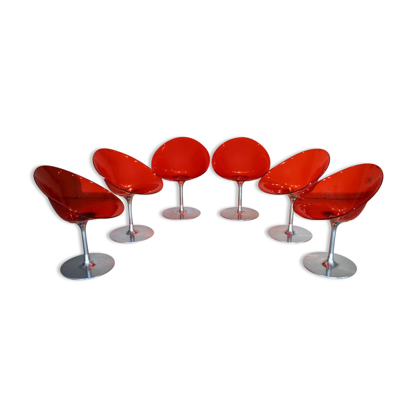 Ensemble de 6 fauteuils Eros, Phillipe Starck pour Kartell, 1999.