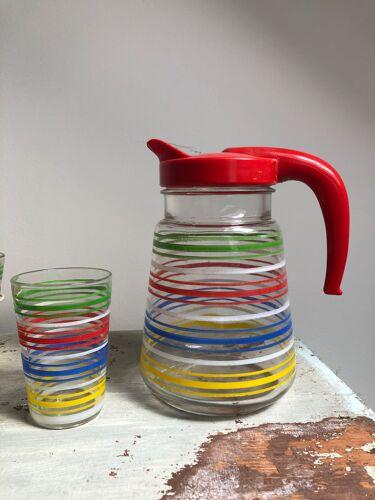 Lot de 6 verres avec son support métallique et 1 carafe en verre service orangeade 1950 vintage