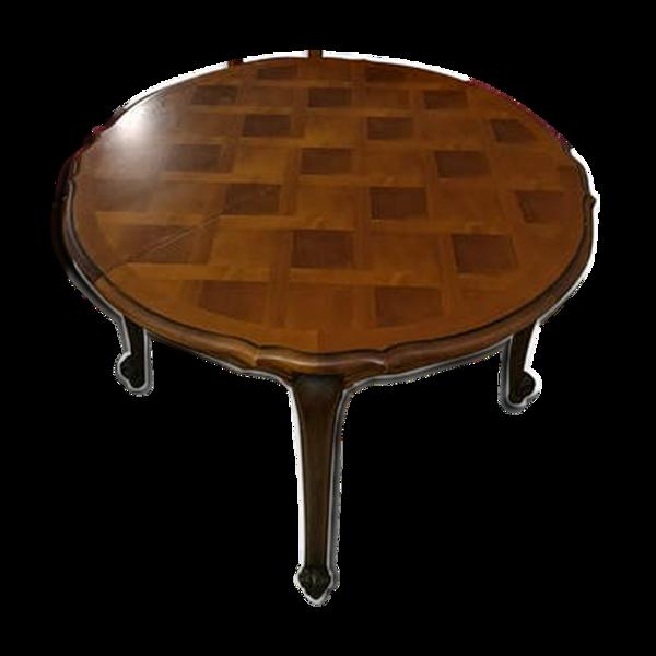 Table en merisier massif style Louis XV extensible pour environ 8 à 10 personnes