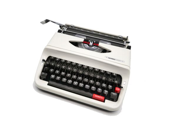 Machine à écrire Hermes baby S blanche révisée ruban neuf