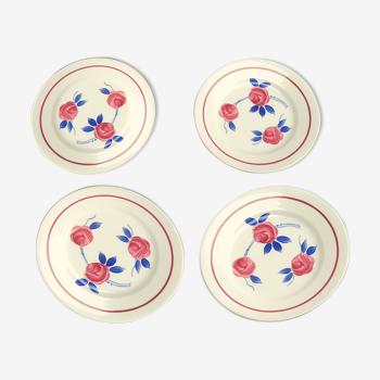 4 assiettes décor fleurs roses et bleues