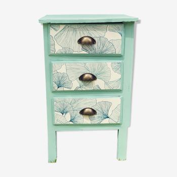 Meuble d'appoint 3 tiroirs vintage relooké