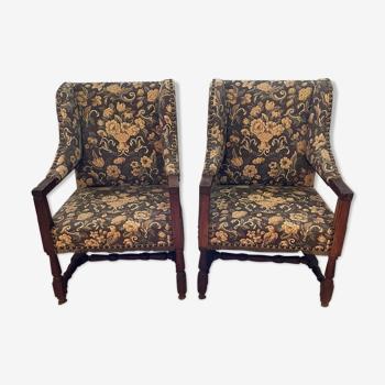 Paire de fauteuils en tapisserie
