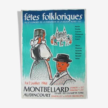 Affiche fêtes folkloriques Montbéliard - Doubs 1961