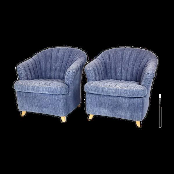 Paire de fauteuils en velours dux