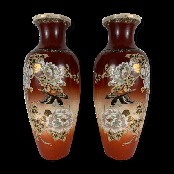 Paire de vases Satsuma décor d'oiseau Japon XIXe Meiji