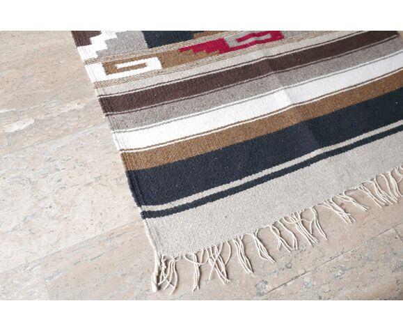Tapis folk en laine Amérique du Sud années 70 150 X 75 cm