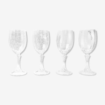 Lot de 4 verres à vin rouge en cristal cannelé