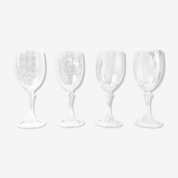 Set of 4 red wine glasses in fluted crystal