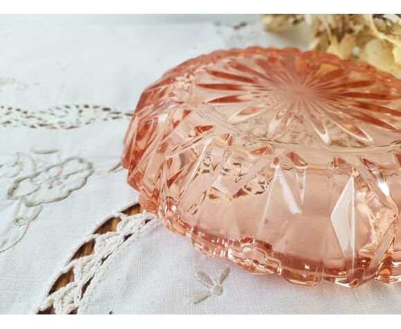 Cendrier en verre rose  vintage style art deco