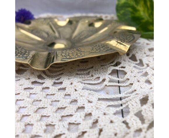 Cendrier vide-poche style oriental laiton ciselé