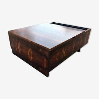 Table basse bar porte revue en palissandre années 60