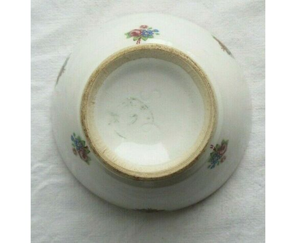 Bol vintage Art Déco blanc sur talon, décor de petits bouquets Roses et Myosotis