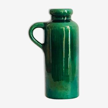 Soliflore vase in iridescent green ceramic West Germany
