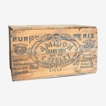 Ancienne caisse en bois vintage amidon