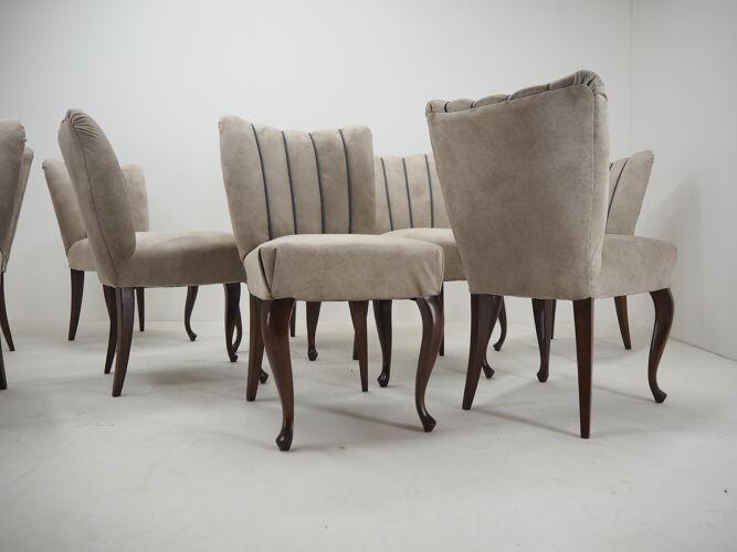 Ensemble de dix chaises à manger des années 1920 , Tchécoslovaquie