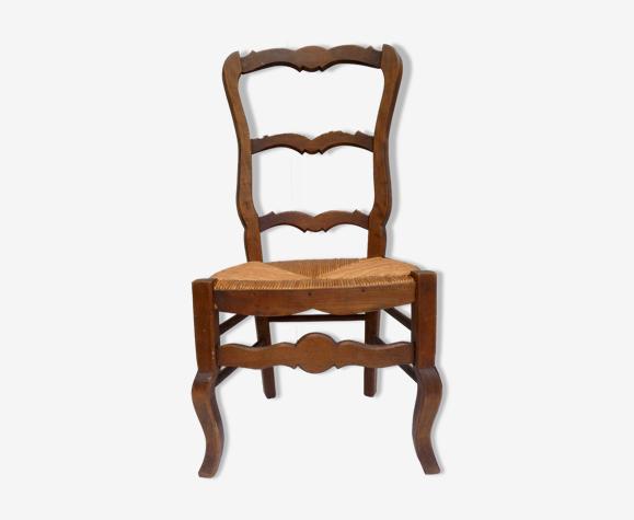 Chaise paillée ancienne basse