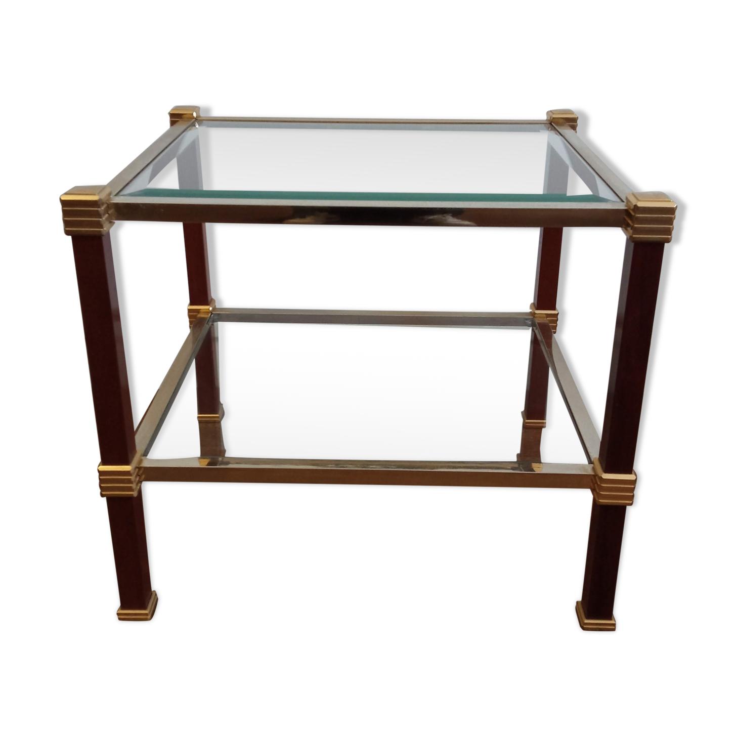Table basse Roche Bobois en bois laiton et verre années 70