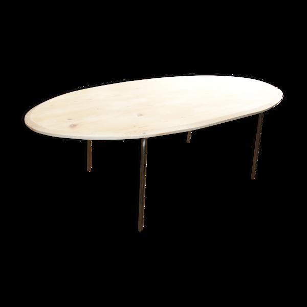 Selency Table de salle à manger en bois et acier années 70