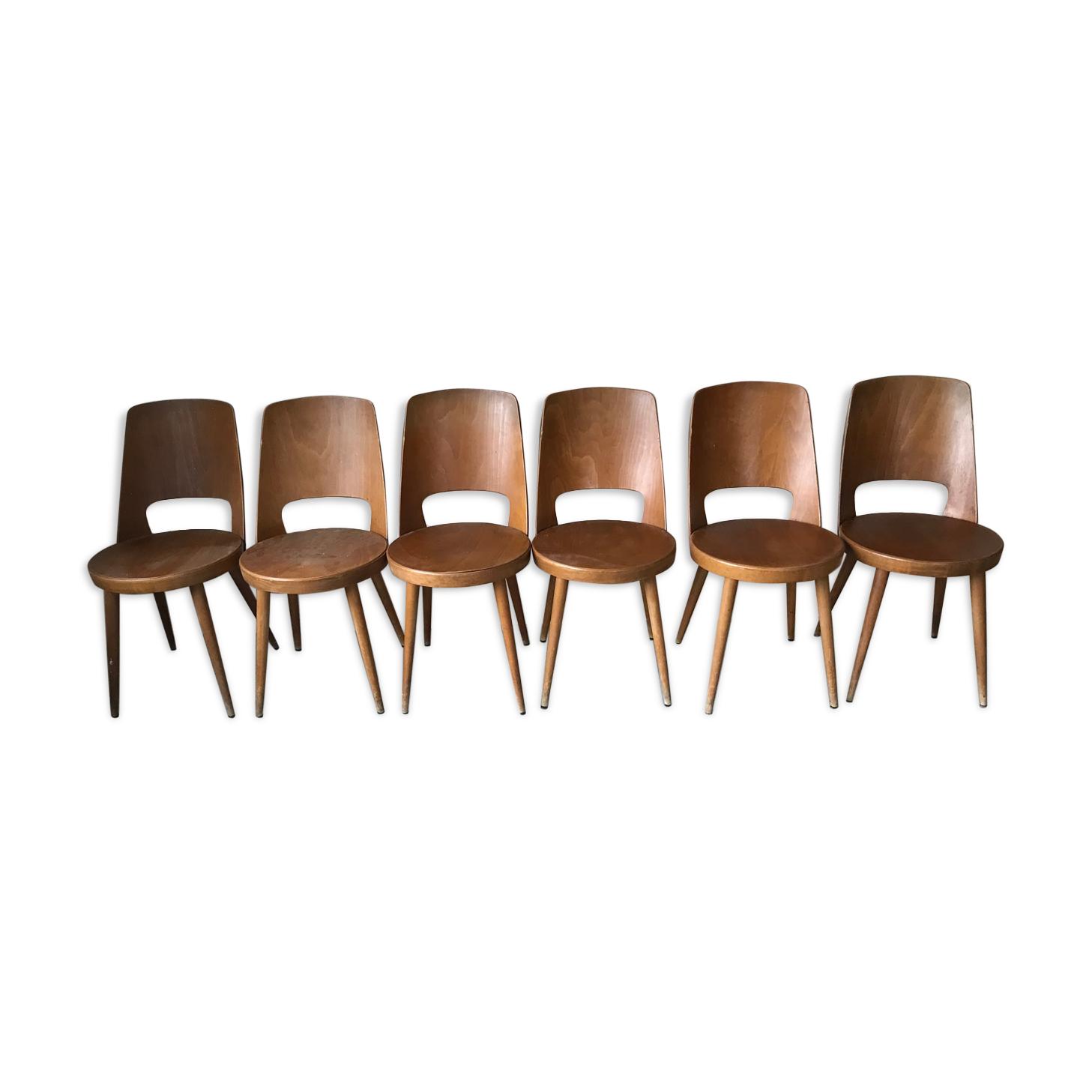 Suite de 6 chaises bistrot Baumann circa 1950
