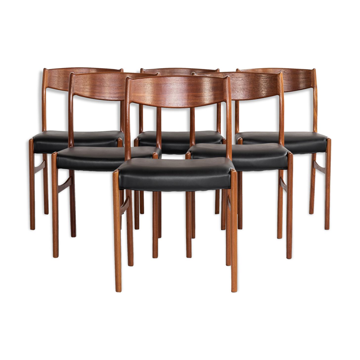 6 chaises de salle à manger en teck par Glyngøre Stolefabrik années 1960