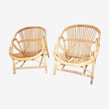 Lot de deux fauteuils rotin