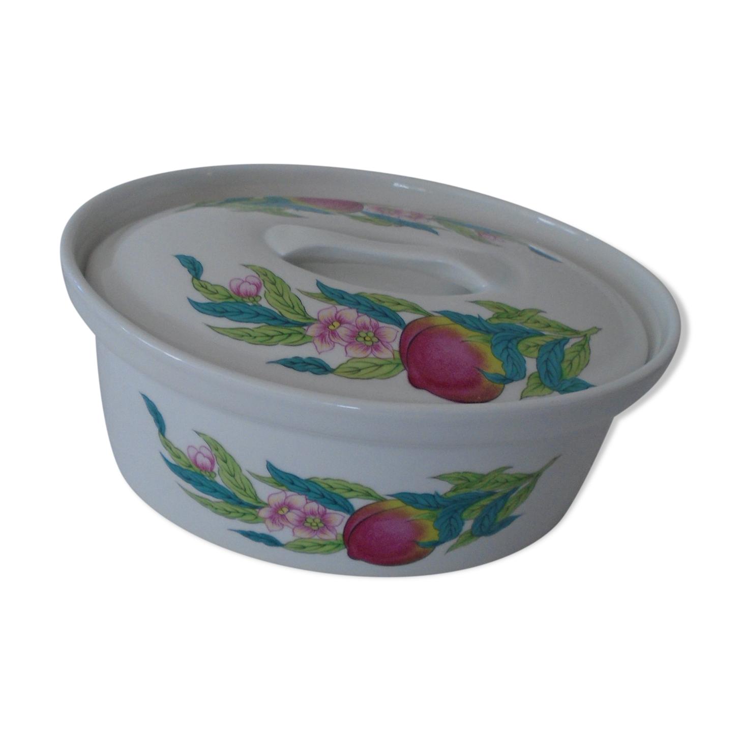 Plat porcelaine de Paris modèle Abondance fleurs roses